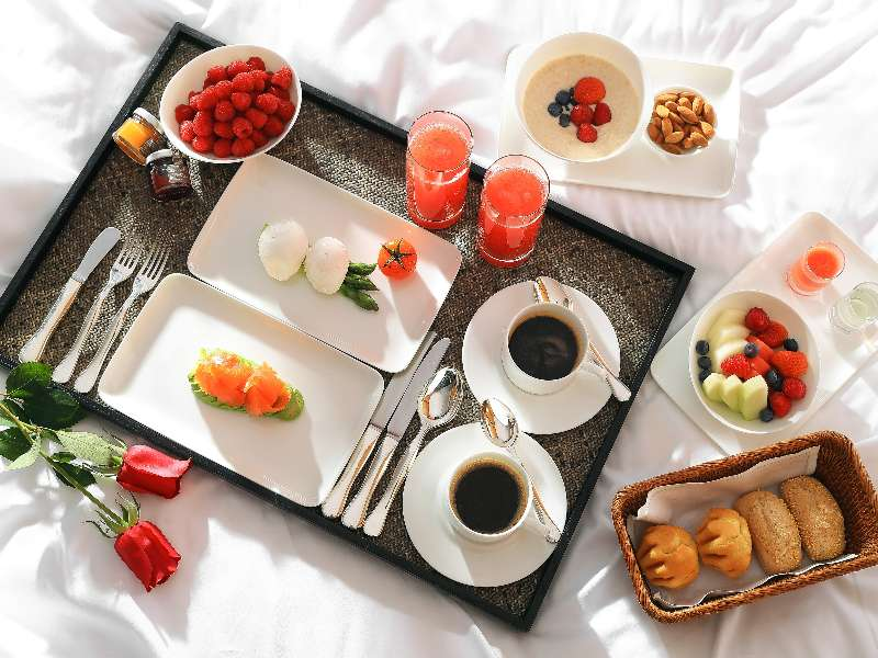 A typical breakfast in bed at The Bvlgari Hotel Beijing