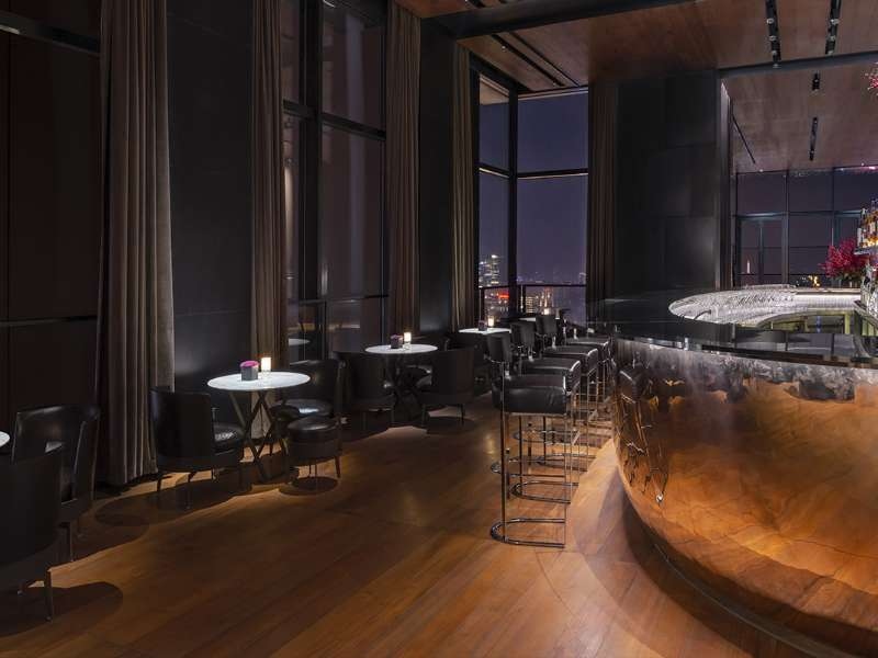 Il Bar by night at The Bvlgari Hotel Shanghai