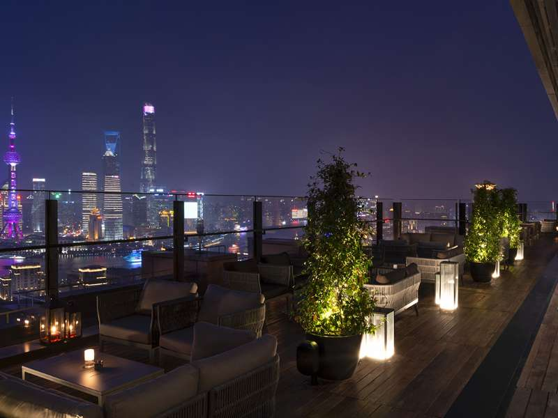la Terrazza by night at The Bvlgari Hotel Shanghai