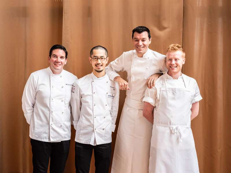 The Chef Luca Fantin with the winners of S.Pellegrino Young Chef award
