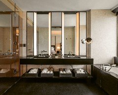 The bathroom of a room at The Bvlgari Hotel Shanghai