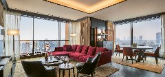 The livingroom of a suite at The Bvlgari Hotel Shanghai