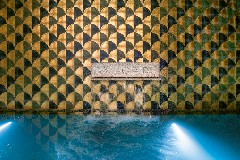 Detail of the Bvlgari Logo in the pool at The Bvlgari Hotel Shanghai