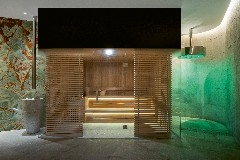 The sauna of the Bvlgari Spa at The Bvlgari Hotel Shanghai