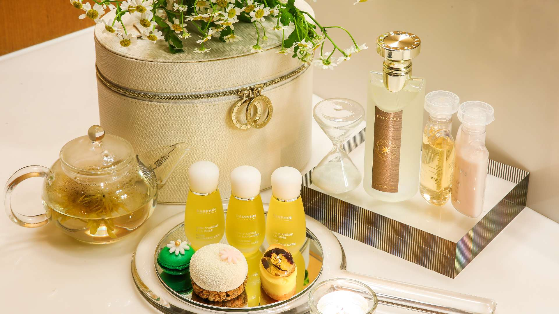 Spa table with cosmetics
