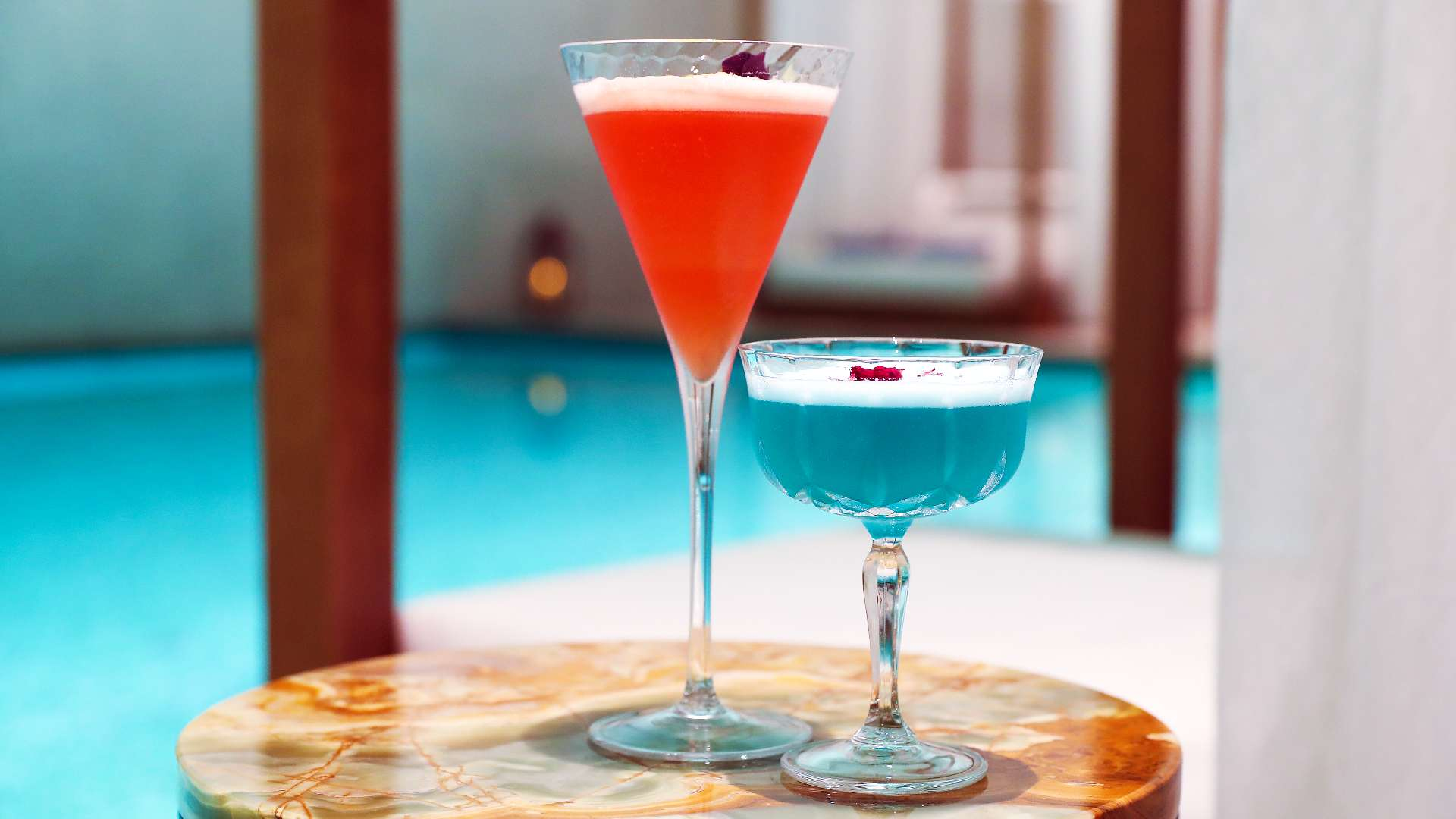 Two mocktails at the pool of the Bvlgari Spa at The Bvlgari Hotel Beijing