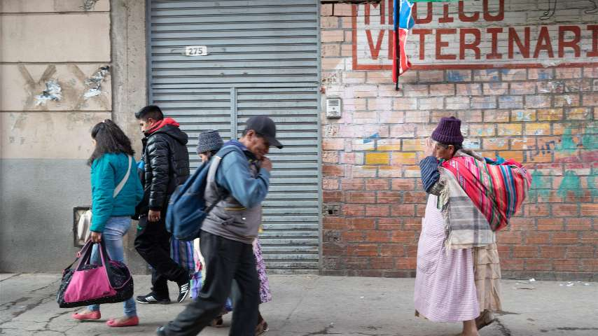 Photo of people on a street in Bolivia