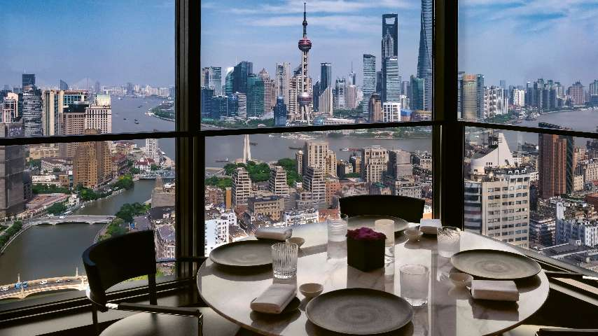A detail of the view from Il Ristorante - Niko Romito at The Bvlgari Hotel Shanghai