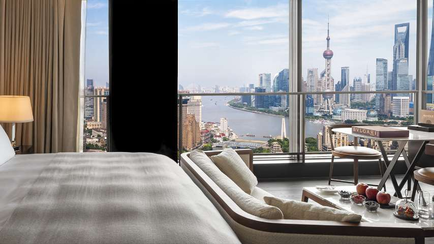 The rooms at The Bvlgari Hotel Shanghai
